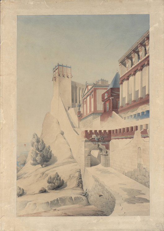 Henri Labrouste (French, 1801-1875). Imaginary reconstruction of an ancient city. Perspective view. Date unknown. Graphite, pen, ink and watercolor on paper. Académie d'Architecture, Paris