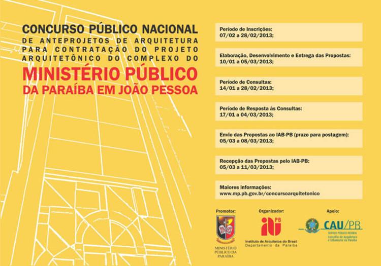 Inscrições para Concurso Público Nacional de Anteprojetos de Arquitetura / João Pessoa - PB, Cortesia de IAB-DF