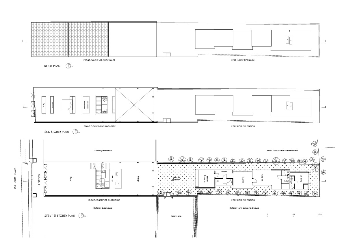 Lucky Shophouse / CHANG Architects. 17 / 18. Floor Plans