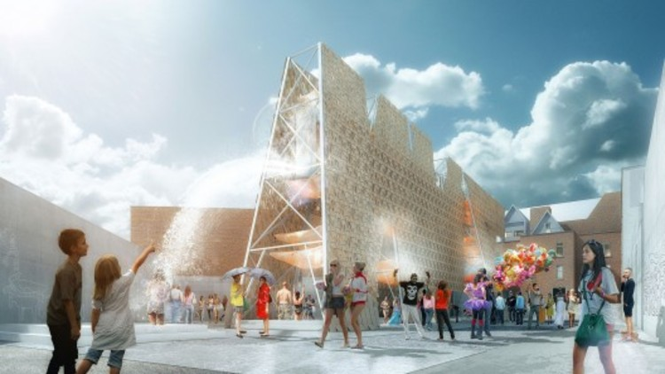 CODA gana el Young Architects Program del MoMA PS1 con 'Party Wall' Desechos de Skateboard, vía MoMA