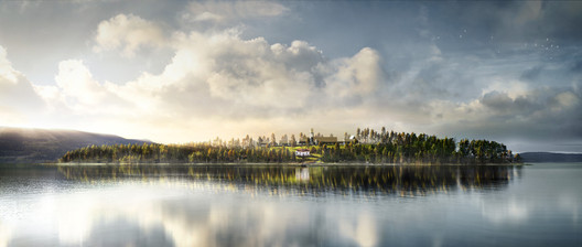 Rendering for the New Utoya Project in Norway, which will re-design the Utøya Island where the 2011 massacre took place. Image courtesy of Fantastic Norway.