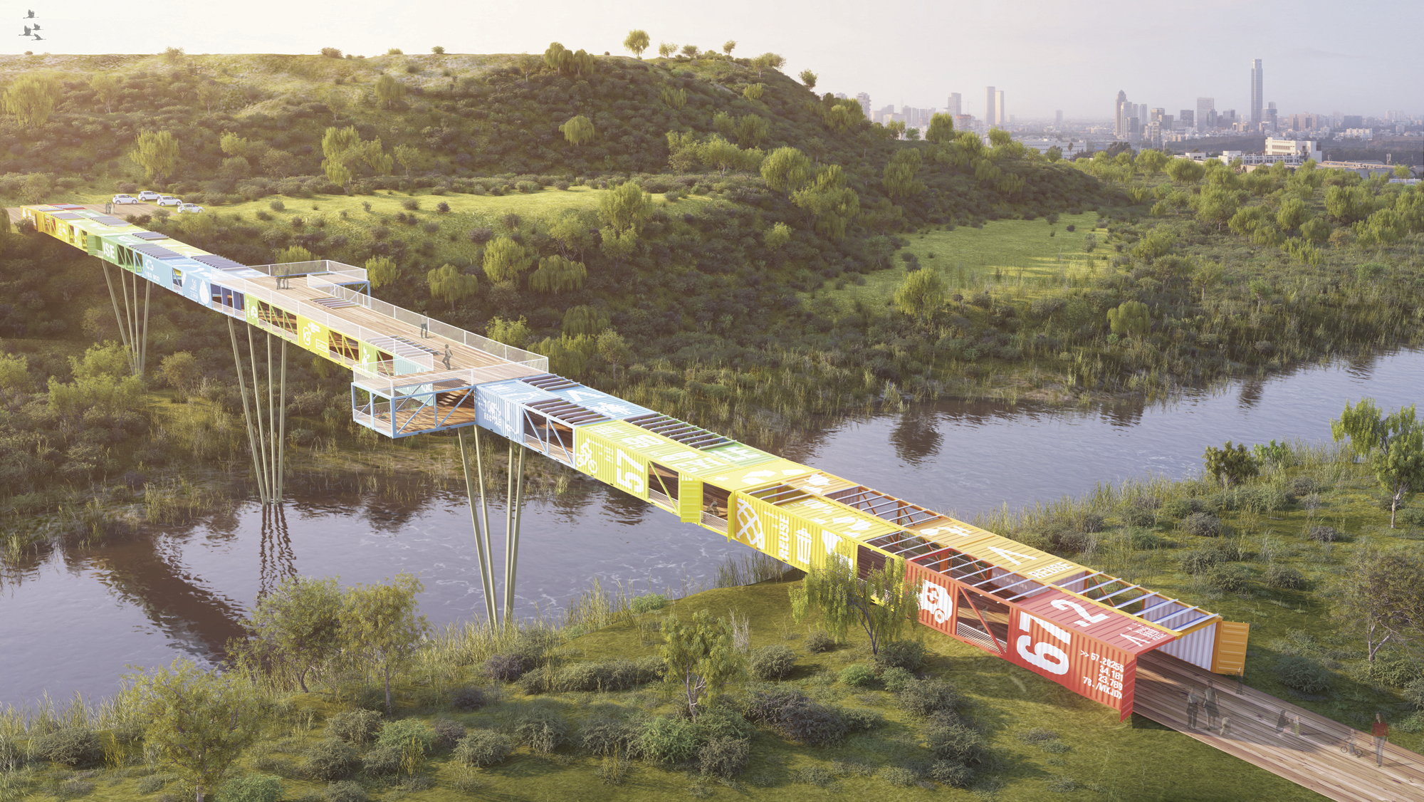 Puente Econtainer  / Yoav Messer Architects, Cortesia de Yoav Messer Architects