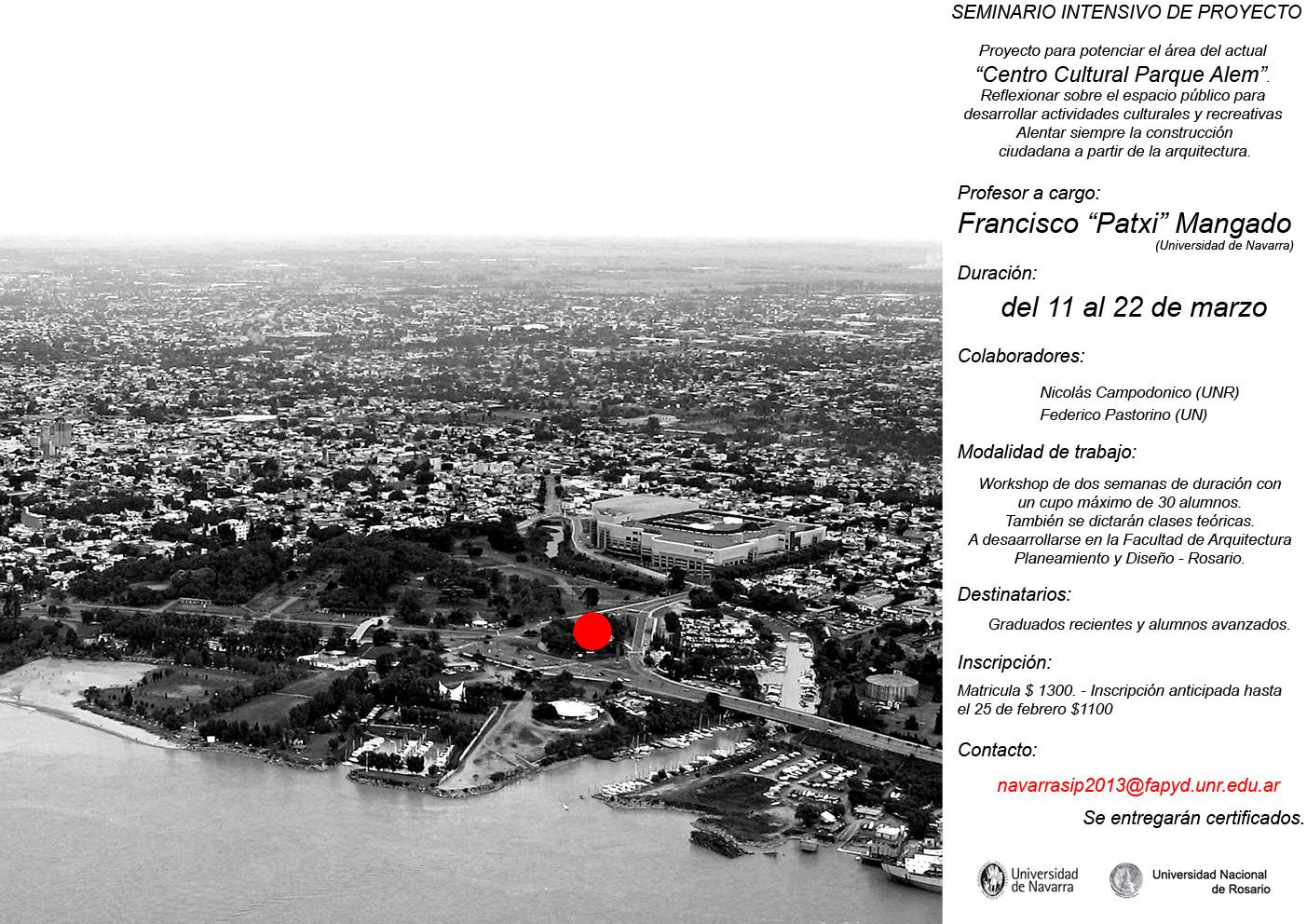 """Inscripciones para Seminario Intensivo de Proyecto: """"Centro Cultural Parque Alem"""" / Rosario-Argetina"""