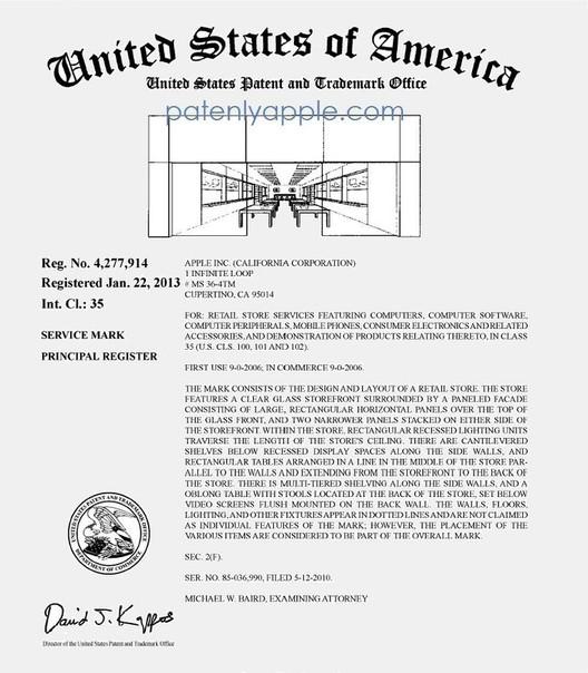 Apple's Trademark Certificate - Courtesy of patentlyapple.com