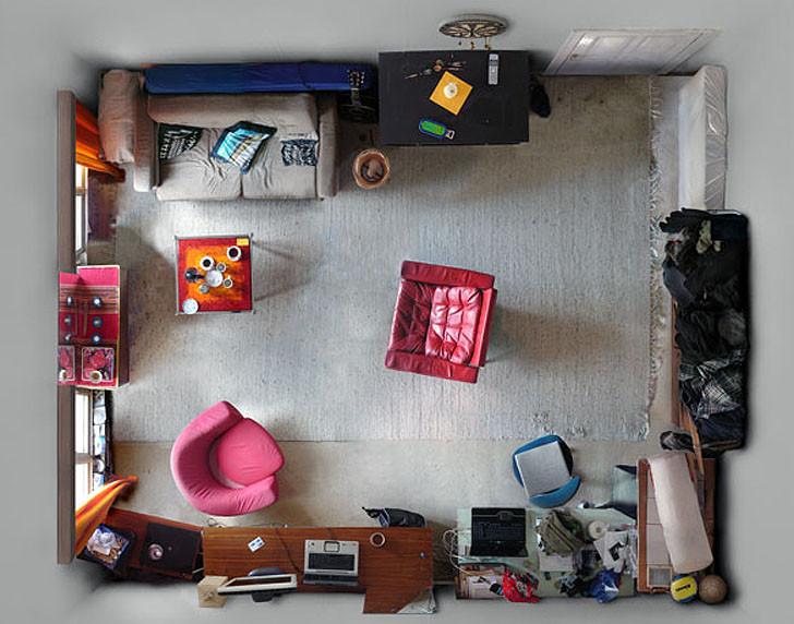Arte e Arquitetura: O fotógrafo Menno Aden captura pequenos espaços de vida com câmeras instaladas em seus tetos
