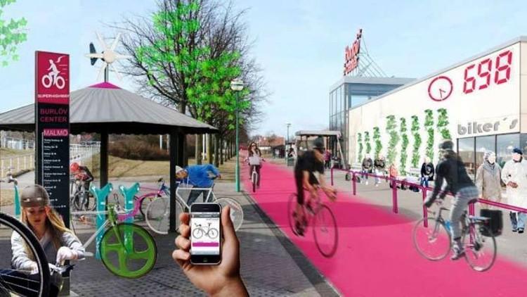 Estrada para bicicletas com 30 km de extensão foi construída na Suécia, Cortesia de Plataforma Urbana
