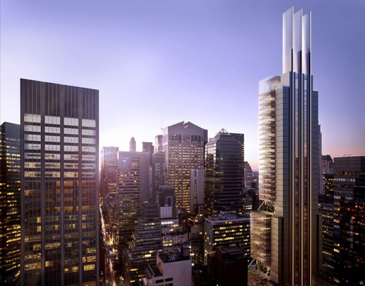 Rendering for 425 Park Avenue in New York City by Foster and Partners. Foster and Partners, although only #10 on the ranking of WA 100 Largest Architecture Firm, Was Ranked #1 as the Most Admired Firm this year. Image courtesy of Foster and Partners.