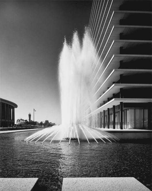 Overdrive: L.A. Constructs the Future, 1940–1990; Julius Shulman (American, 1910–2009) Department of Water and Power Building Corner with Fountains, 1965 © J. Paul Getty Trust. Used with permission. Julius Shulman Photography Archive, Research Library at the Getty Research Institute