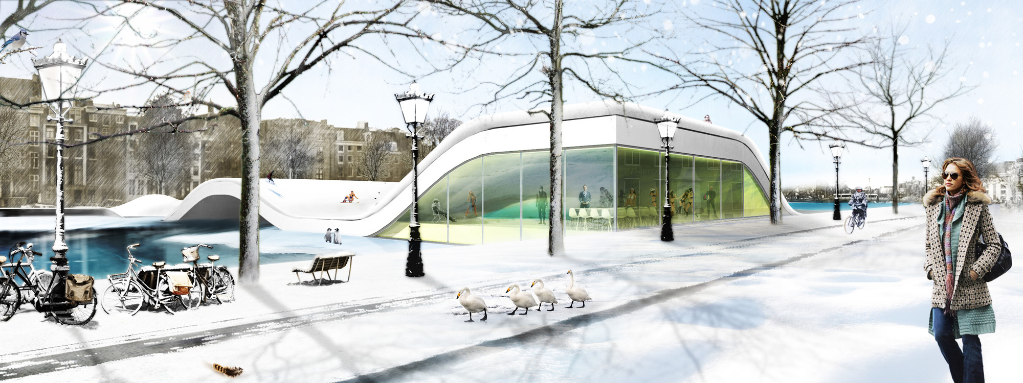 """""""Amstel River-Yard Project"""": Un parque urbano sobre un puente en Ámsterdam, © AÏE Architectes"""