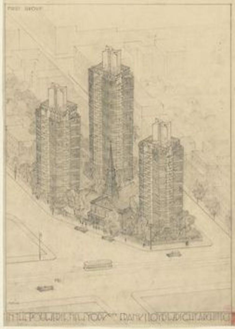 Torres vidriadas de 1930 diseñadas por Frank Lloyd Wright en East Village, Manhattan, vía MoMA
