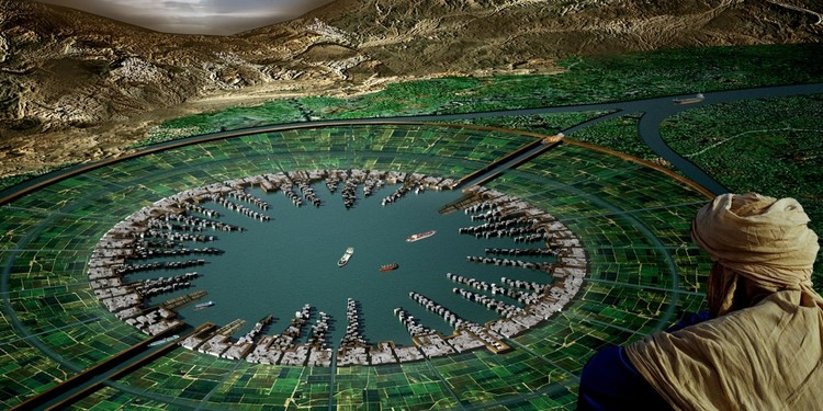 """Projeto """"Hydropolis"""": Uma cidade aquática para o vale do Nilo, Egito, Cortesia de Margaux Leycuras, Marion Ottmann, Anne-Hina Mallette"""
