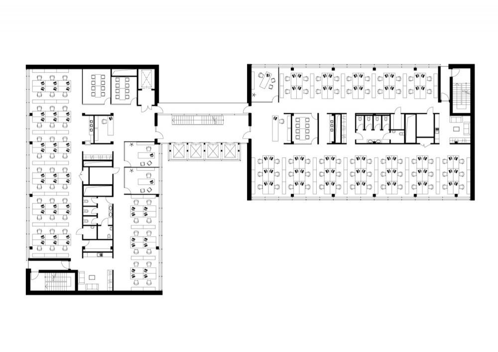 Galer a de edificio de oficinas dnb nord audrius for Planta arquitectonica de una oficina