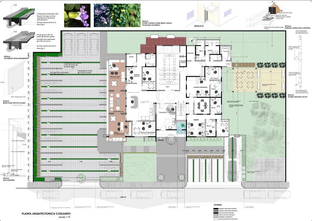 Edificio administrativo grupo banas daniel pons for Oficinas planta arquitectonica