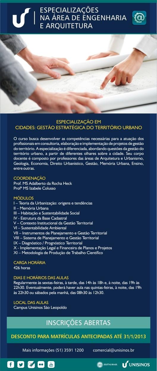 """""""Especialização em Cidades: Gestão Estratégica do Território Urbano"""" oferecido pela Unisinos, Cortesia de Unisinos"""