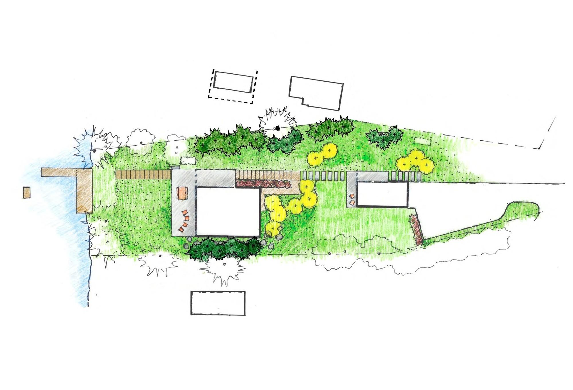 Gallery of Cantilever Lake House Birdseye Design 11