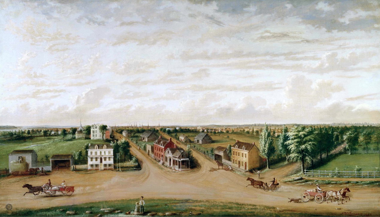 NYC's Union Square in 1828 , 'Painting the Town' via Business Insider