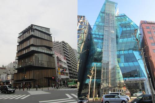 Asakusa Culture Tourist Information Center by Kengo Kuma. Right: Audi Forum Tokyo by Creative Designers International. Image ©Dessen Hillman