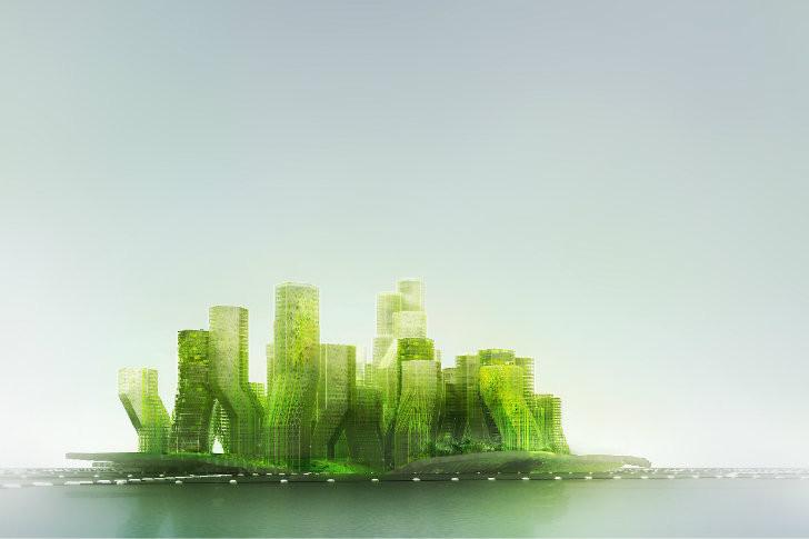 Ciudad flotante que transforma, a través de algas, CO2 en biodiesel / X-TU Architects, © X-TU