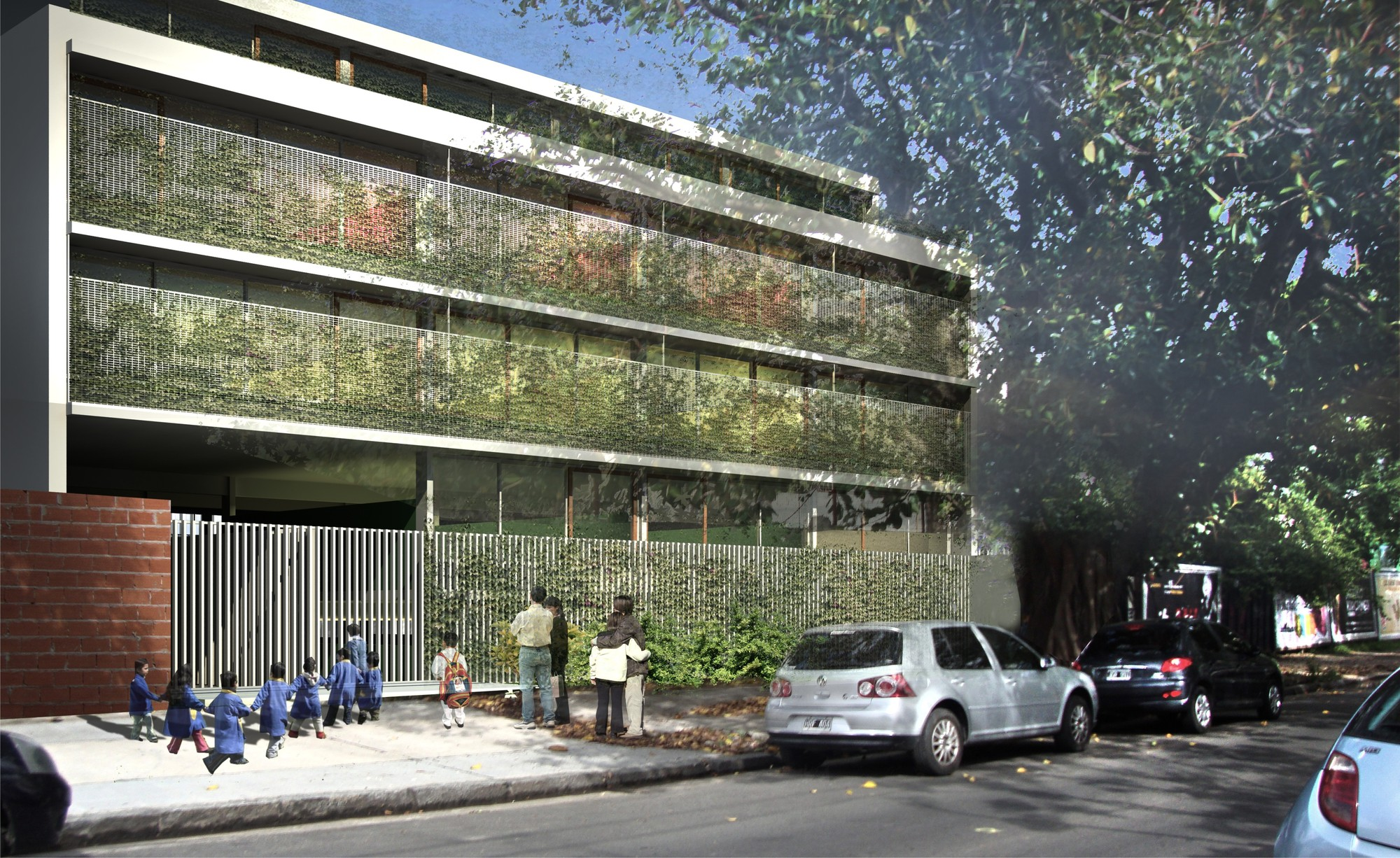 """Mención Concurso """"Hacia una Nueva Arquitectura Escolar"""" / Giordano + Eusebio + Fernández de Lema + Sánchez, Render Exterior 02"""