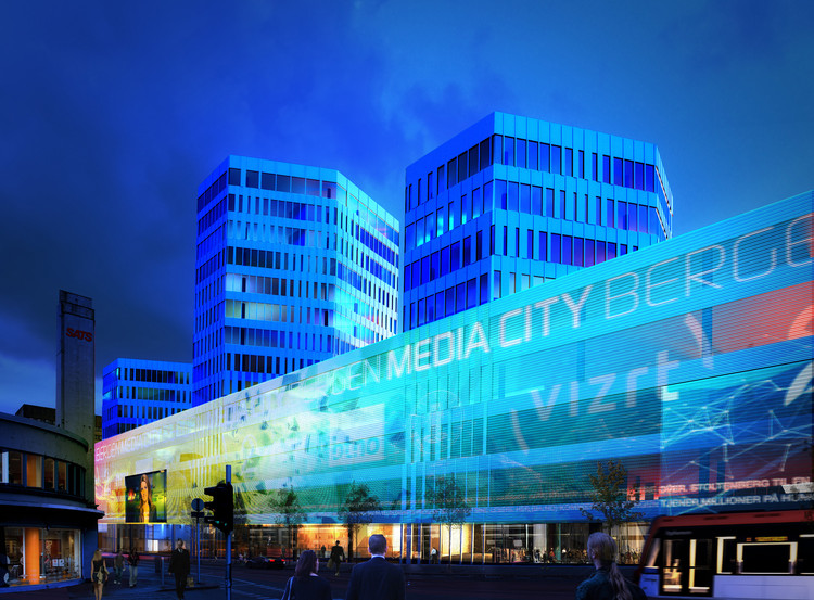 Proposta Ganhadora do Media City Bergen (MCB) / MAD arkitekter, © Entra OPF Utvikling / MAD Arkitekter / Placebo