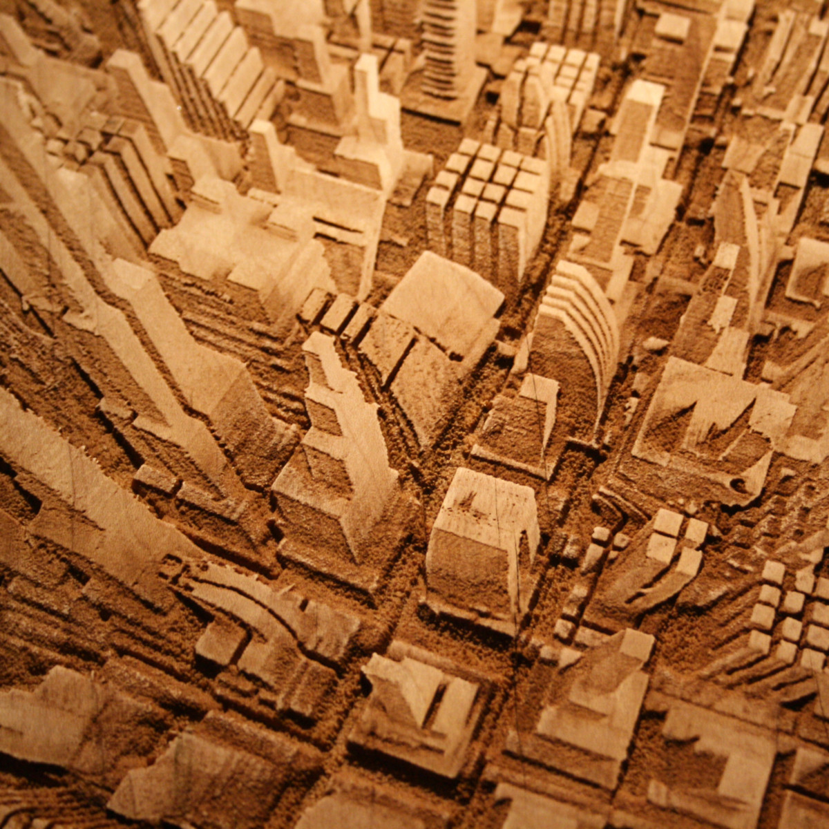 Galer a de arte y arquitectura paisajes urbanos en madera for Paisajes para murales de pared