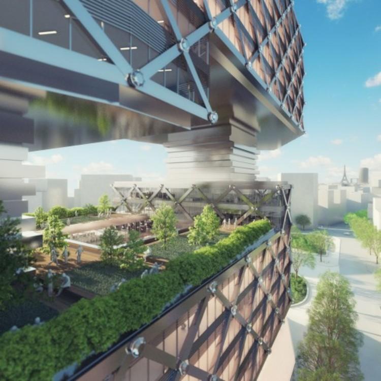 "Podemos parar de desenhar árvores no topo dos arranha-céus?, Edifício de Escritórios ""Le Cinq""  / Neutelings Riedijk Architects, Rendering por Visualisatie A2STUDIO"