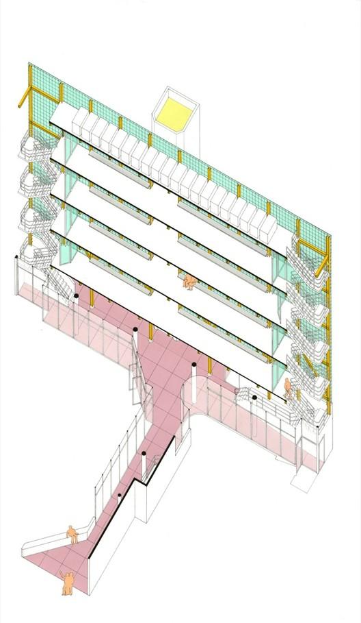 "Reidel Medical Building / Tijuana, Mexico, 1976 / Morphosis (Thom Mayne and Michael Rotondi) / Circulation isometric / Pantone and laminated plastic on print, 14"" x 21 ½"" / Courtesy of Morphosis Architects"