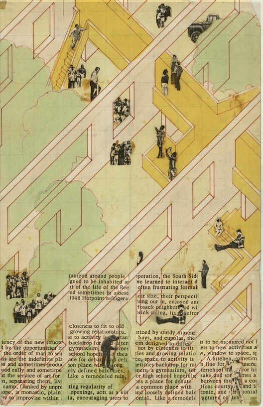 """South Side Settlement / Columbus, Ohio, 1975-80 / Studio Works (Craig Hodgetts and Robert Mangurian) / Isometric, first scheme / Ink, pantone, and collage on paper, 11"""" x 17"""" / Image courtesy of the architects"""