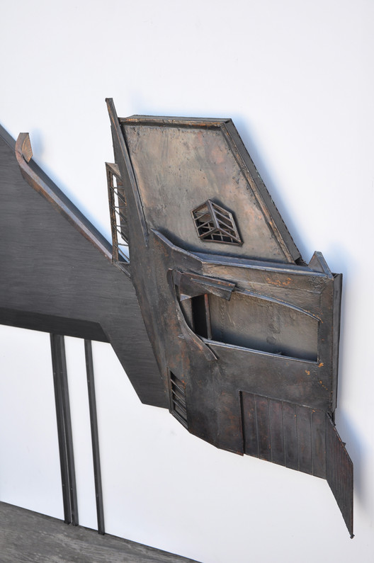 """Daniel Studio / Los Angeles, California, 1980 [project] / Coy Howard / Drawl / Wood, cardboard, paper, graphite, bronzing, 13"""" x 52"""" / Image courtesy of the architect. Photo by Coy Howard"""