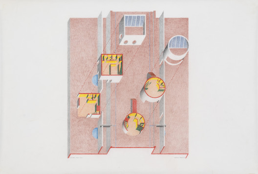 """Twelve Houses at Cabo Bello / Baja California, Mexico [project], 1976 / Roland Coate Jr. / Cutaway plan isometric / Colored pencil on vellum, 36"""" x 24"""" / Image courtesy of the architect. Photo by Joshua White"""