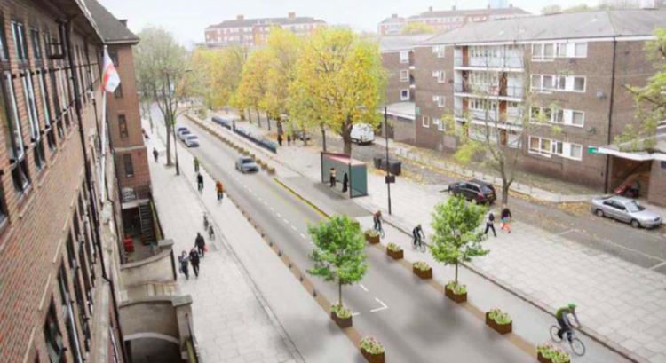 Prefeito de Londres Anuncia Plano Diretor de US$ 1.510 Milhões para Ciclovias, Ciclovias segregadas na Rua Royal College, Londres. Fonte da imagem: gizmag.com