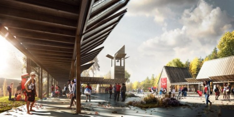 A arquitetura pode atuar no controle de armas?, Render do projeto New Utopia na Noruega, que redesenhará a ilha de Utopia onde o massacre de 2011 aconteceu. Imagem, cortesia de Fantastic Norway.