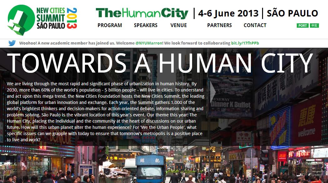 New Cities Summit -  'A Cidade Humana' / São Paulo, Courtesy of Programa Cidades Sustentáveis