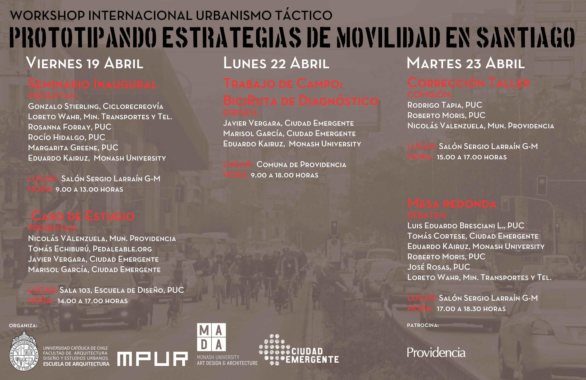 Workshop Internacional: Urbanismo Táctico: Prototipando Estrategias de Movilidad en Santiago