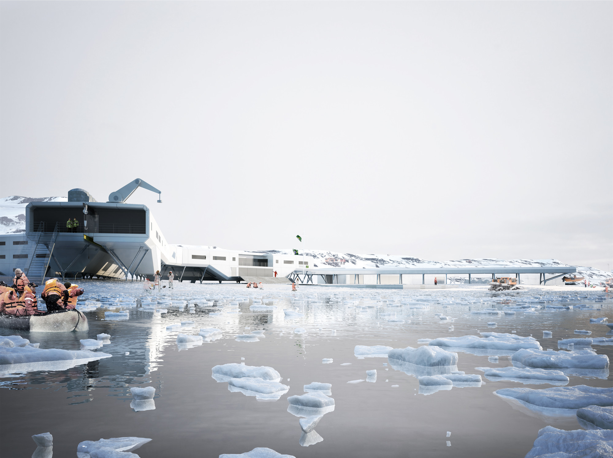 Estação Antártica Comandante Ferraz International Competition 2nd Place / Triptyque, Rendering by rsi-studio.com