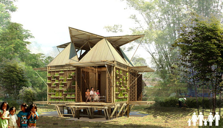 Casas de Bambu de H&P Architects resistem a inundações flutuando sobre tambores reciclados, Courtesy of H&P Architects