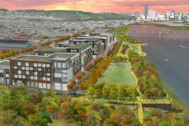 Plano prevê reutilização do Passado Industrial de  Pittsburgh para reunir a cidade e seus cidadãos. , 43rd St District Vista em direção à Pittsburgh, Cortesia de Sasaki Associates