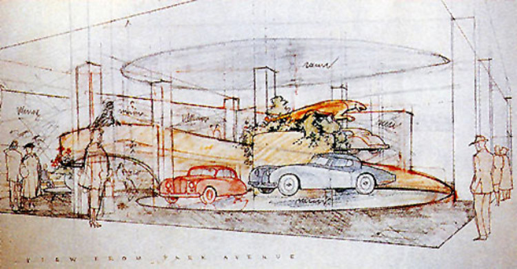 Demolido o Hoffman Auto Showroom de Frank Lloyd Wright, Desenho de Frank Lloyd Wright para o Showroom Hoffman Auto (cortesia de Frank Lloyd Wright Foundation) via Hyperallergic.com