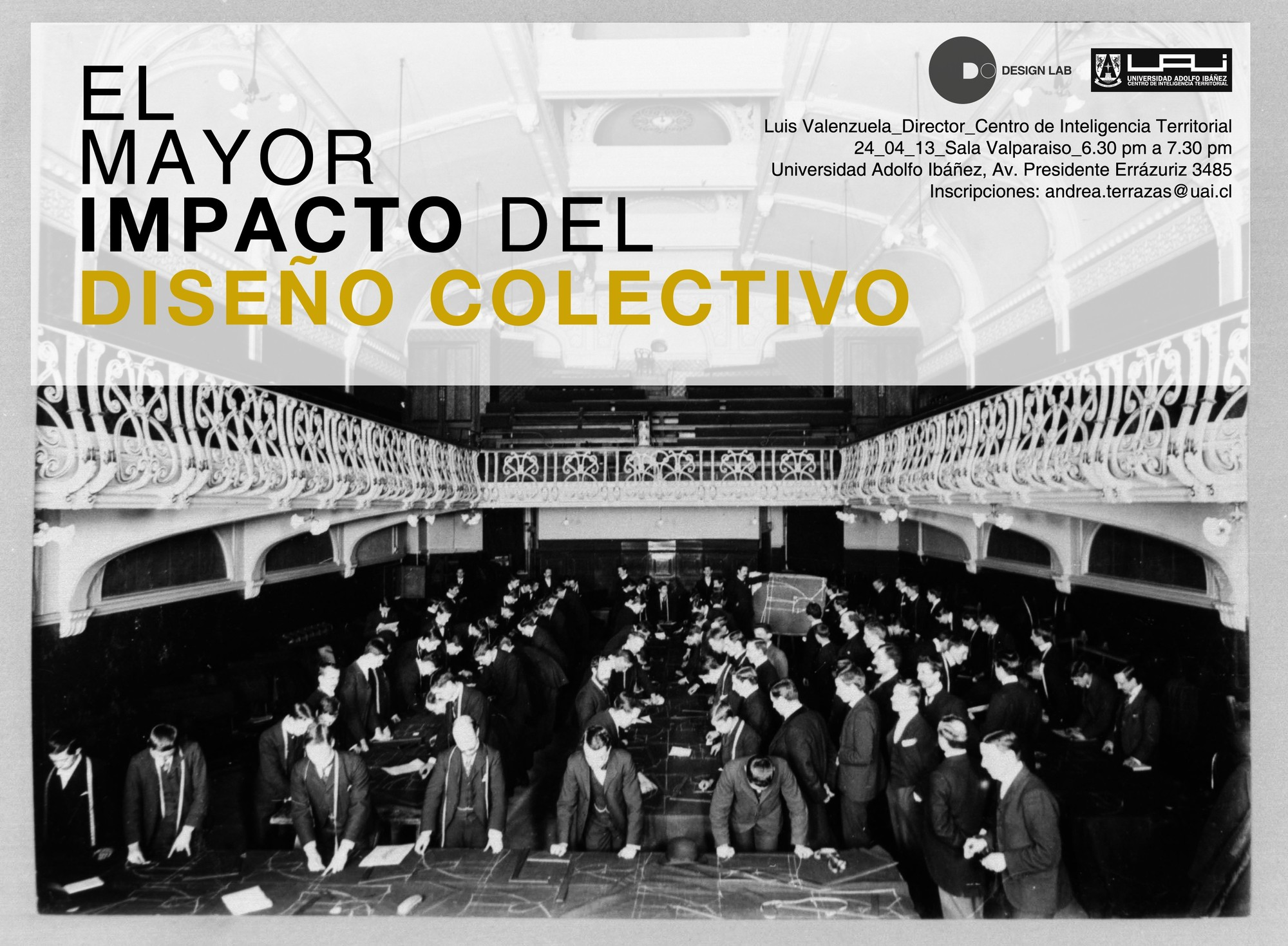 """Charla """"El mayor impacto del diseño colectivo"""" Luis Valenzuela / UAI, Courtesy of UAI"""