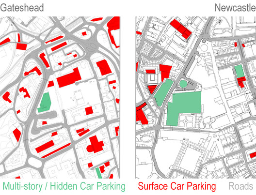 A comparison of Gateshead with its neighbor Newcastle shows how the area surrounding Trinity Square was never made pedestrian-friendly. © Rory Stott
