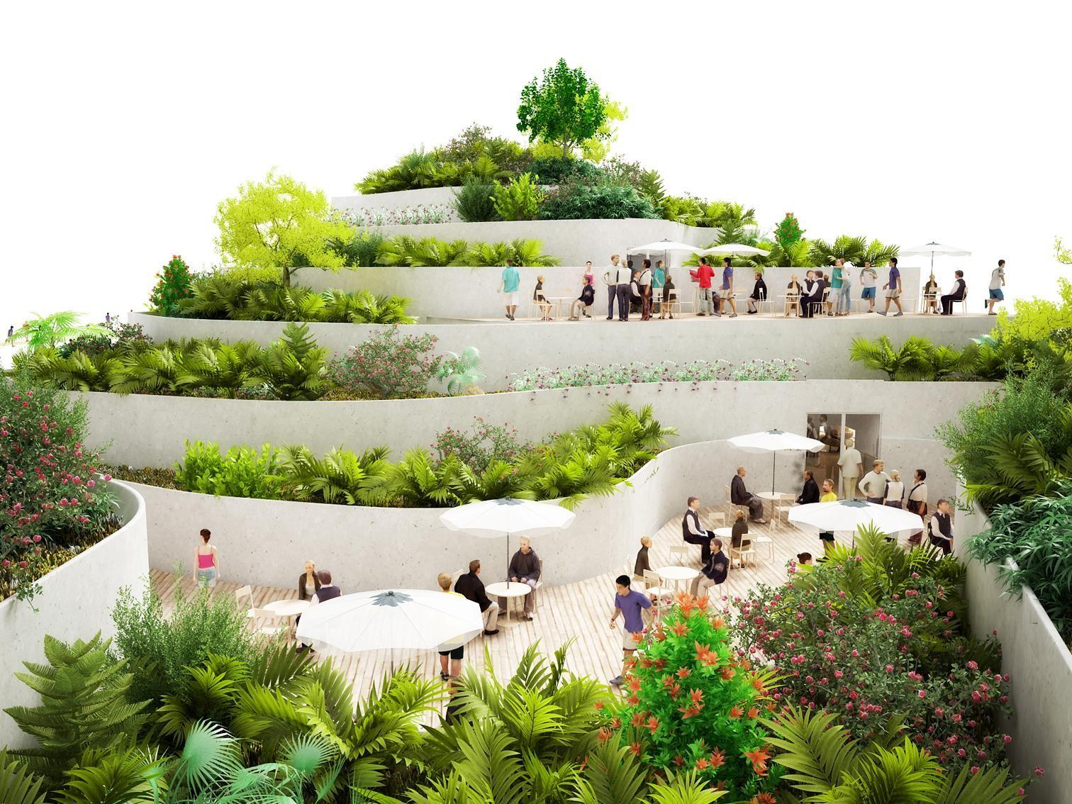 Sanya Lake Park Super Market Proposal Nl Architects Archdaily