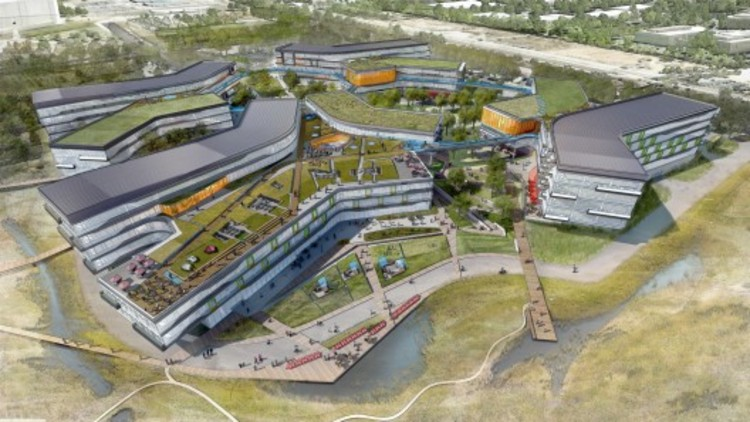 Pode a arquitetura nos tornar mais criativos? Parte II: Ambientes de trabalho, Novo campus da Google projetada por  NBBJ (cortesia de nbbj)