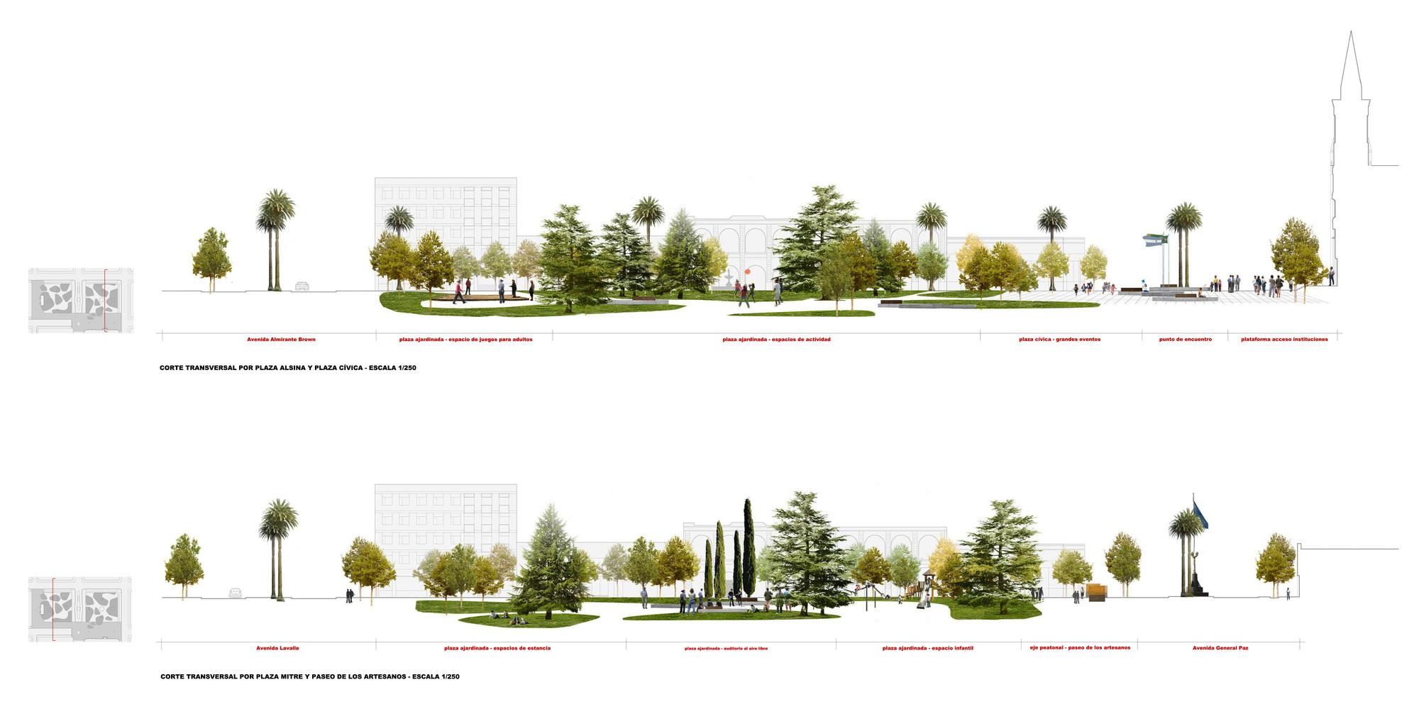 Galer a de primer lugar concurso plazas mitre y alsina 15 for Tipos de mobiliario urbano pdf
