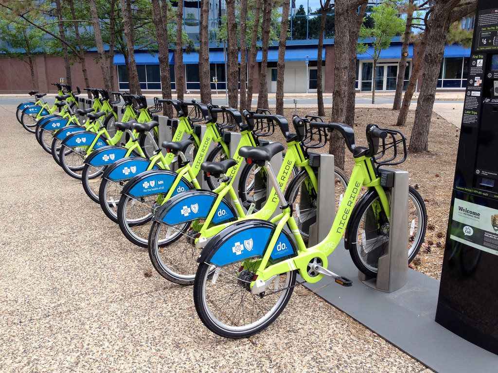The Bike-Sharing Takeover, Bike-Share in St. Paul, Minnesota; © Flickr User Taestall; Licensed via <a href='https://creativecommons.org/licenses/by-sa/2.0/'>Creative Commons</a>