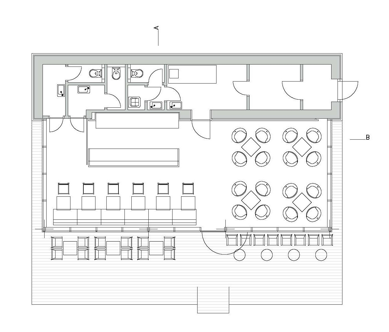 Gallery of coffee house light 4 space 9 for Coffee shop floor plan with dimensions