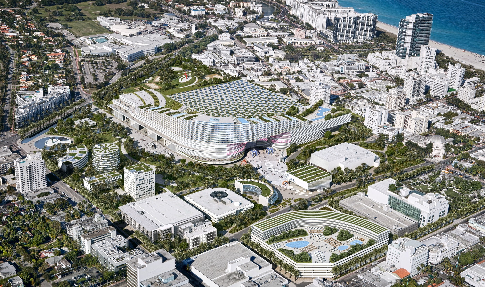 OMA Proposes Radical Redevelopment Plan for the Miami Beach Convention Center, Aerial from SW; Courtesy of OMA