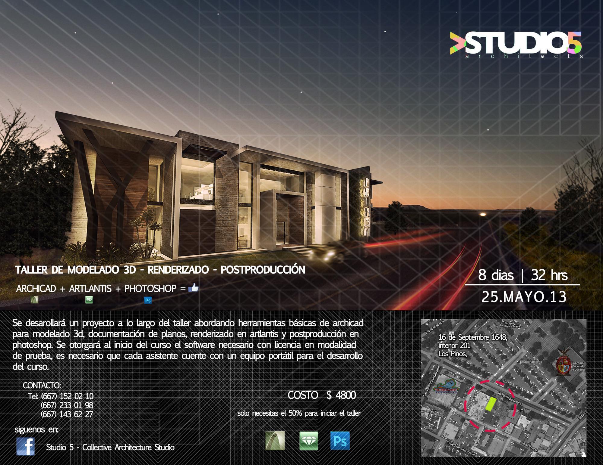 Taller de Modelado 3D, Renderizado y Post Producción en Ciudad de México / Studio 5 - Collective Architecture Studio [¡Sorteamos un Cupo!]