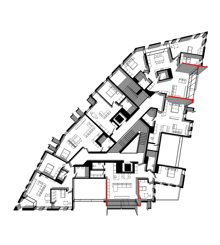 Red Le Apartment Building Aedes Studio Plan
