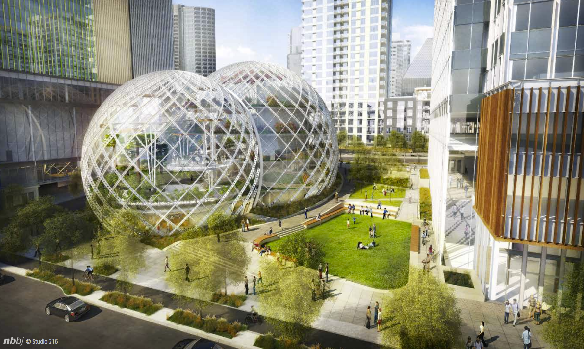 nbbj proposes five story biodome for amazon 39 s seattle headquarters archdaily. Black Bedroom Furniture Sets. Home Design Ideas