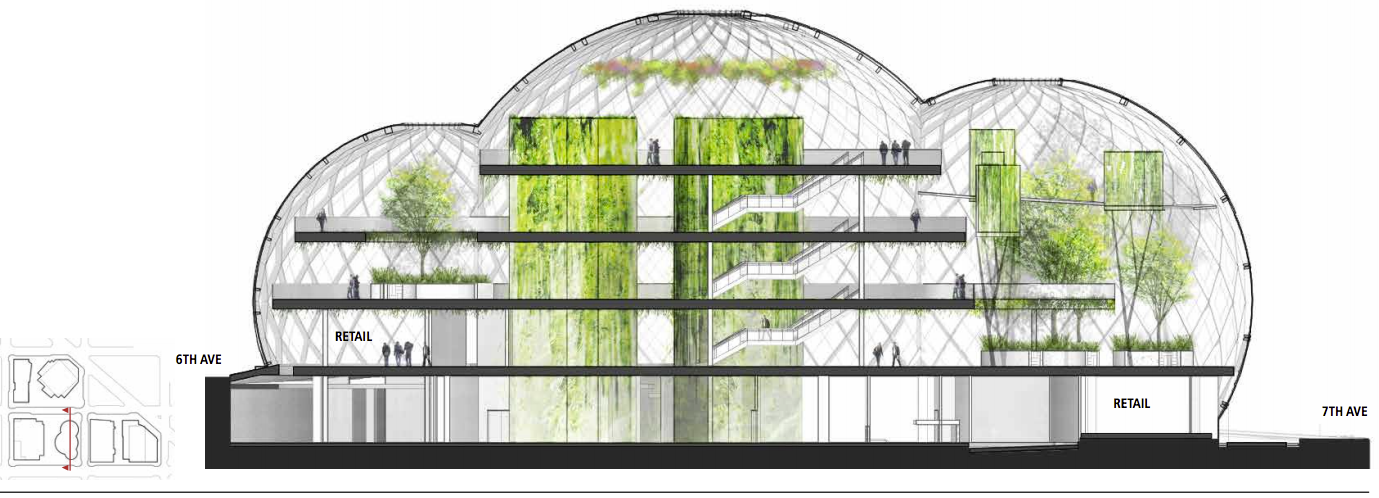 Nbbj Proposes Five Story Biodome For Amazon S Seattle